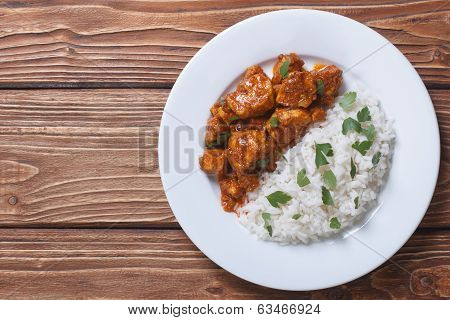 Rice With Chicken In Curry Sauce Top View