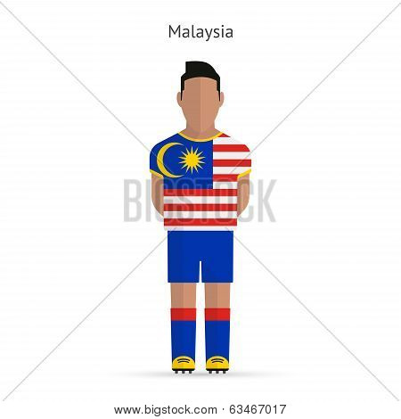 Malaysia football player. Soccer uniform.