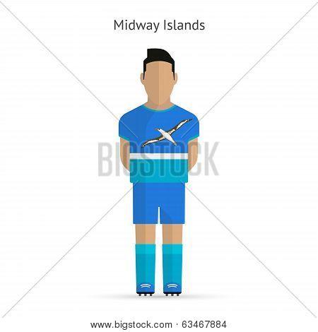Midway Islands football player. Soccer uniform.