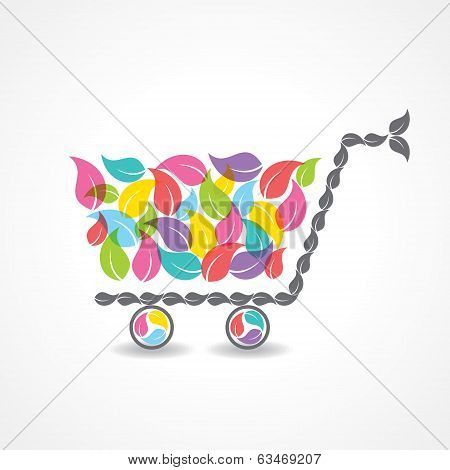 shopping cart with group of colorful leaf