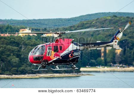 Rovinj, Croatia - April 13 2014 Safety Helicopter At Red Bull Air Race Event
