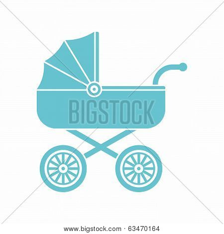 Blue pram (baby carriage) icon
