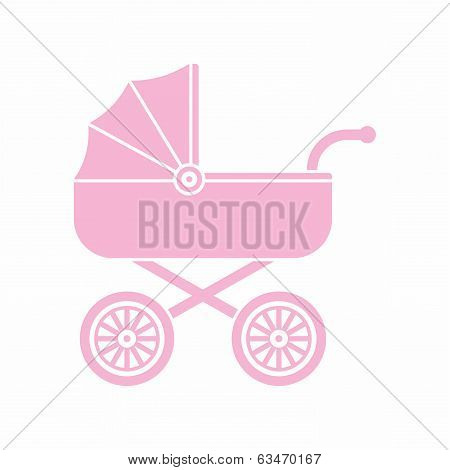 Pink pram (baby carriage) icon