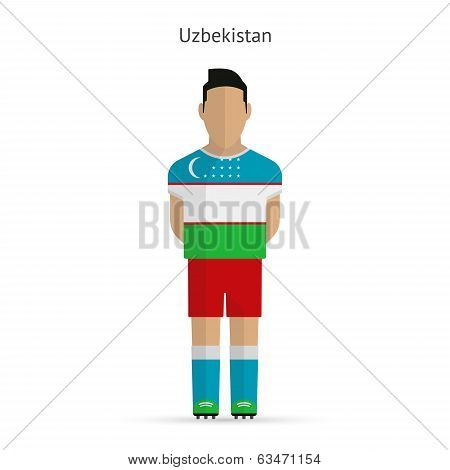 Uzbekistan football player. Soccer uniform.