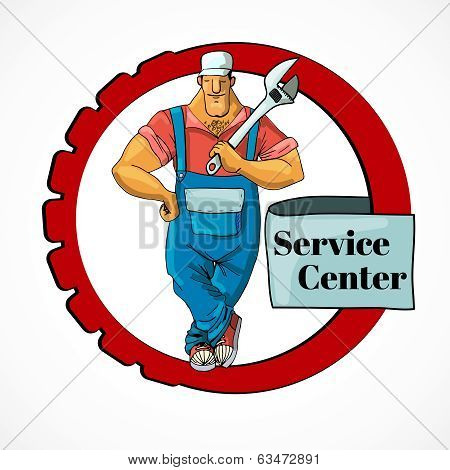Plumber with monkey wrench in frame