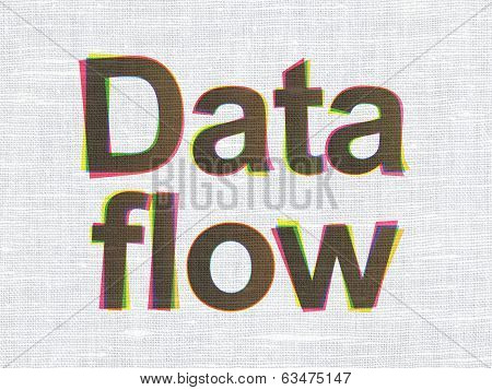 Information concept: Data Flow on fabric texture background