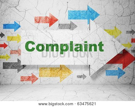 Law concept: arrow with Complaint on grunge wall background