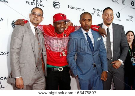 NEW YORK-APR 16: (L-R) One9, Jungle, Nas and Erik Parker attend the world premiere of