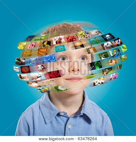 Young Boy. Technology Concept.