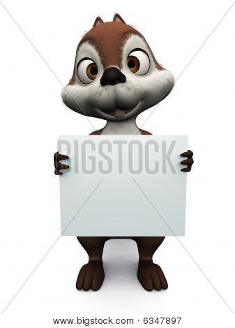 Squirrel Holding Blank Sign.