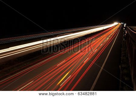 Highway In Germany At Night And Darkness