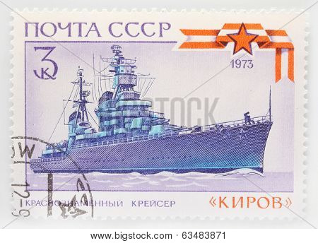 USSR - CIRCA 1973: A stamp printed in The USSR shows image of a russian cruiser, series, circa 1973