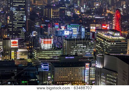 Skyscrapers Of Central Osaka  At Night