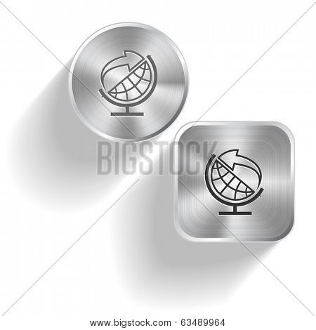 Globe and arrow. Raster set steel buttons