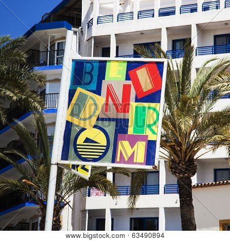 Benidorm, Costa Blanca, Spain - April 9th 2014: Colorful Pr Sign For Benidorm, Taken April 9th 2014