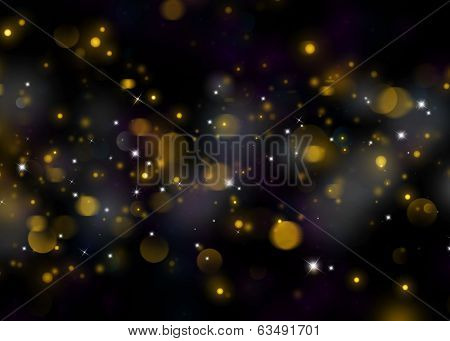 Gold glittering background. Sparkling glitters on black background