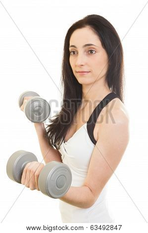 Woman Working Out With Dumbbells. Isolated