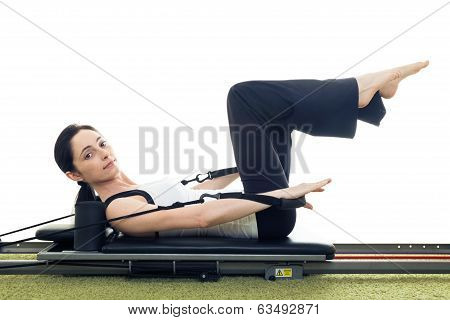 Woman Working Out In The Gym. Isolated