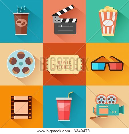 illustration of flat style movie and film icon set