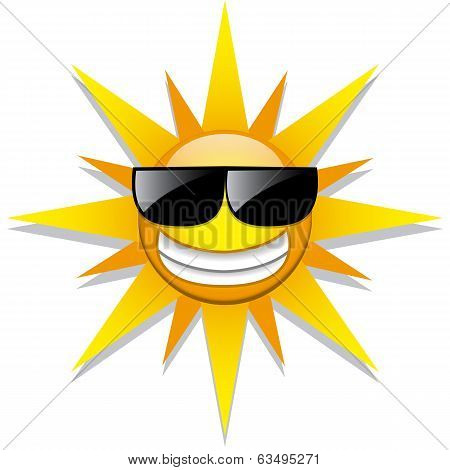 Vector Funny Cartoon Sun Icon Isolated On White Background