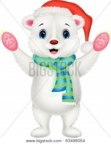 Polar bear cartoon waving