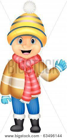 Cartoon a boy in Winter clothes waving