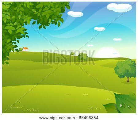 Sunrise Over A Green Landscape