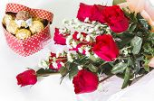 Red Rose Flower Bouquet With Chocolate Ball Isolated