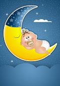 stock photo of goodnight  - an illustration of Baby asleep on the moon in the night - JPG