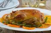 Roasted duck with caramelized oranges and thyme