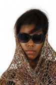 African American Girl Wearing Sunglasses