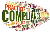 stock photo of text cloud  - Compliance and audit in word tag cloud on white - JPG