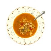 Serving of spicy chicken soup poster