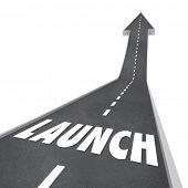 Launch Word Road Leading Up Successful New Company Business