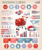 Big set of shopping infographics elements. Vector.