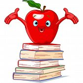 Red apple character on pile of books