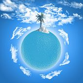 3D render of a palm tree on an ocean globe with fluffy white clouds