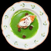 Sea bass with herbs and spinach puree, clipping path included