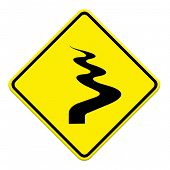 stock photo of veer  - Winding Road Ahead isolate on white background - JPG