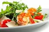 Tiger Prawns and Rucola  with Parmesan Cheese and Cherry Tomato