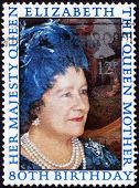 UNITED KINGDOM - CIRCA 1980:  Postage Stamp celebrating  80th Birthday of Queen Mother, circa 1980