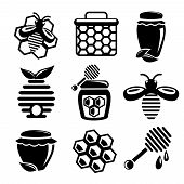 stock photo of honey bee hive  - Honey bee hive and cell food agriculture black silhouette icons set isolated vector illustration - JPG