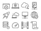 Data and Networking icons set // Line series
