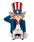 stock photo of uncle  - Vector Cartoon Illustration of Uncle Sam saluting - JPG