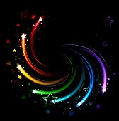 foto of twist  - glowing sparks of all colors of the rainbow twist on a black background - JPG