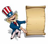 stock photo of uncle  - Vector Cartoon Illustration of Uncle Sam presenting a declaration - JPG