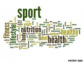 Vector eps concept or conceptual abstract sport and health word cloud or wordcloud on white backgrou