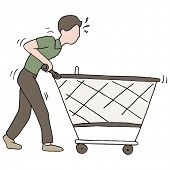 An image of a man pushing a broken shopping cart.