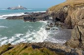 image of st ives  - Godrevy lighthouse and island St Ives Bay Cornwall coast England UK facing the Atlantic Ocean and popular with surfers - JPG