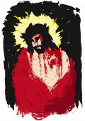 foto of insulting  - illustration of Jesus Christ crowned with thorns - JPG